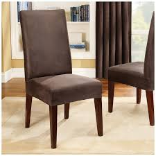 Sure Fit Stretch Leather Short Dining Room Chair Cover Brown - Short dining room chair covers