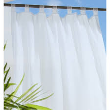 White Tab Top Curtains Commonwealth Outdoor Curtains Escape Sheer White 70427 130 001