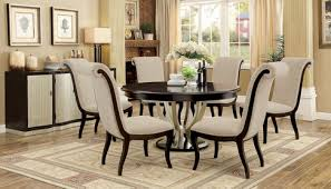 linen chairs ornette 5 pcs espresso dining set w linen like fabric chairs