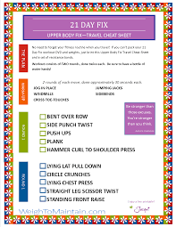 21 day fix upper body fix workout pdf a travel cheat sheet
