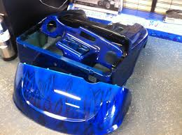 electric blue ghost flamed custom painted golf cart body and dash