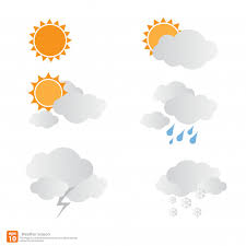 weather season design sun with clouds and vector premium