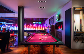 beautiful futuristic design black pool tables with warm lamp can