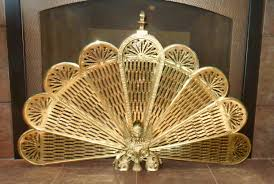 art nouveau brass fireplace screen phoenix winged lion