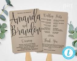 wedding ceremony program fans wedding program fan template calligraphy script printable