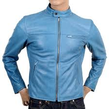 mens leather biker jacket shop for mens cool blue leather biker jacket at togged