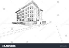 abstract wireframe building 3d rendering stock illustration