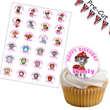 24 precut transformers edible wafer paper cake toppers decorations x paw patrol pre cut rice cup cake toppers with pink text