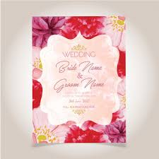 watercolor flower wedding card vector free download