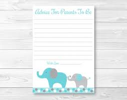 baby shower advice cards teal elephant printable baby shower advice cards ebay