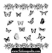 collection of 25 blue butterflies tattoos on back ear