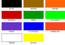 tempera powder paint colour chart