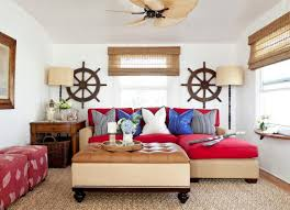 tranquil nautical beach themed living room with red sofa and