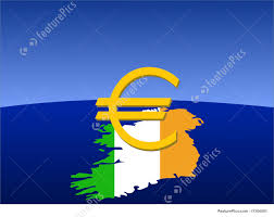 Flag Of Ireland Photo Of Euro Sign With Map And Flag Of Ireland