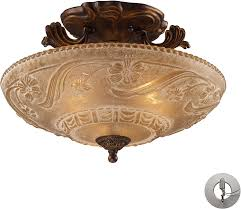 12 Inch Flush Mount Ceiling Light Elk 08098 Agb Restoration 3 Light Semi Flush Mount Golden Bronze