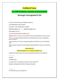 strategic management test bank and solutions manual test