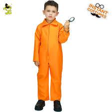orange jumpsuit children orange prisoner costumes boys bad jailbird