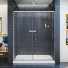 Lowes Bathroom Shower Kits by Shop Dreamline Infinity Z Brushed Nickel Acrylic Floor 2 Piece