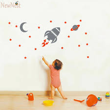 Boy Nursery Wall Decal Rocket Wall Decal Baby Boy Nursery Wall Sticker Space Ship And