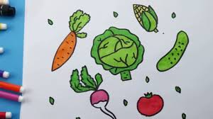 how to draw vegetables coloring carrot cabbage cucumber tomato