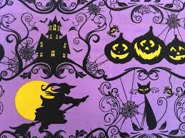 cream halloween fabric yardage come sit a spell wilmington