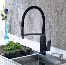 kitchen faucet black finish free shipping top quality 360 rotate pull out kitchen faucet
