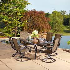 Swivel Patio Dining Chairs by Grand Resort 5194 7pc Oak Hill Rectangle 7 Piece Swivel Dining
