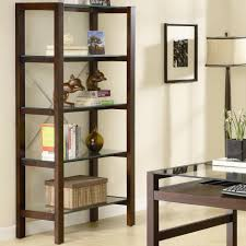 two tones wood and glass bookshelf for bedroom with black metal