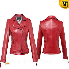 red leather moto jacket for women cw650032