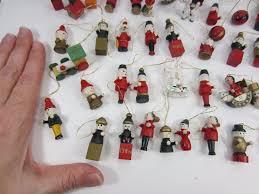 vintage lot of wooden miniature mini tree ornaments