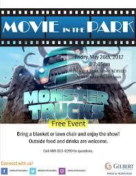 outside monster truck shows movie in the park monster trucks