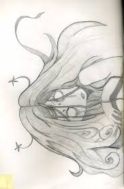 scary long hair creepy no eyes black and white sketch