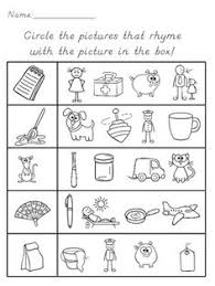 this is a rhyming worksheet that requires students to circle the