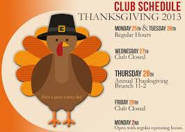 thanksgiving schedule club louisville