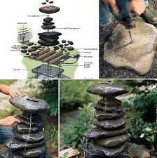 diy recirculating stacked rocks fountain http www interiorzy