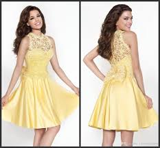 real simple party dresses short yellow appliques pearls elegant