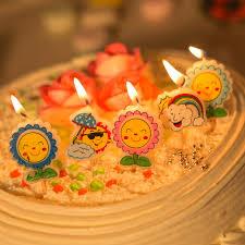 5pcs lot cartoon sun flower cute wax birthday cake topper