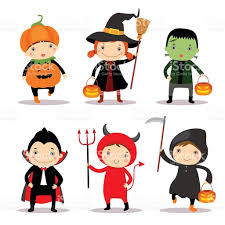 illustration of cute kids wearing halloween costumes stock vector