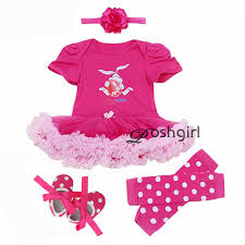 ruffle girl birthday newborn gift clothing set baby dress cotton