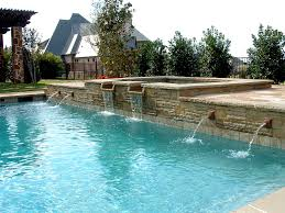 formal swimming pool with raised spa rosetta fountains fort