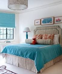 Contemporary Blue Bedroom - cool blue and turquoise accents in paint colors for rooms ideas