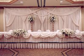 Wedding Head Table Decorations by White Backdrop Drape For Wedding With Head Table Decor Draping