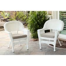 White Wicker Chair Set Of  Free Shipping Today Overstock - Outdoor white wicker furniture