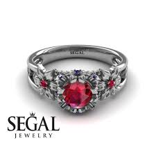 flower and leafs powerhouse ring ruby ring mackenzie no 9