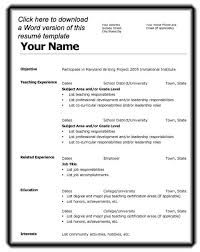 Sample Resume Templates by Free Resume Template Microsoft Word Resume Models In Word