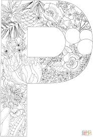 letter p with plants coloring page free printable coloring pages