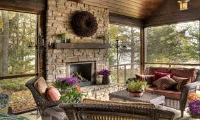 fall decorating ideas for outside stone fireplace mantel