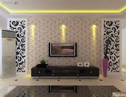 Interior Decoration For Tv Wall Delightful Living Room Interior Decorating With Wallpaper Beside