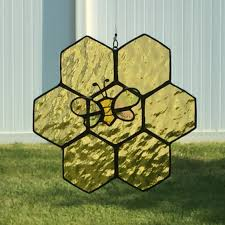 Bee Garden Decor Stained Glass Honey Bee And Honey Comb Suncatcher Honeycomb Bee