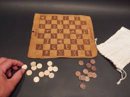 Leather Home Decor by Antique Style Leather Civil War Confederate And Union Checkers Set